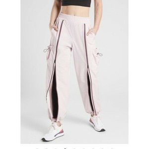 Athleta Stay Fly Pink Zip Up Cargo Jogger Pants XL